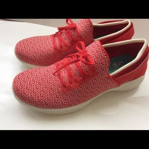 Red shoes sneakers slip on comfort shoes